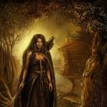 Ведьма живет одна в лесу, в избе на курьих ножках с верным вороном и жабой